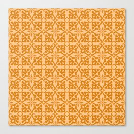 Ethnic tile pattern orange Canvas Print