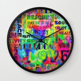 Flower Power Words Of Life Wall Clock
