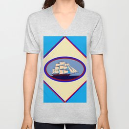 A Nautical Scene with Clipper Ship with Sky Blue Background Unisex V-Neck