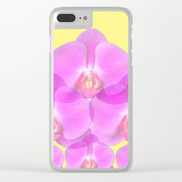 TROPICAL PINK ORCHIDS & YELLOW FLORAL ABSTRACT Clear iPhone Case