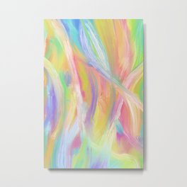 Rainbow Abstract Oil Painting Lines Metal Print