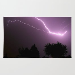 Purple Lightning Night Sky Rug