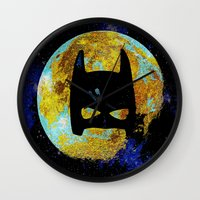 bat Wall Clocks featuring BAT by Saundra Myles