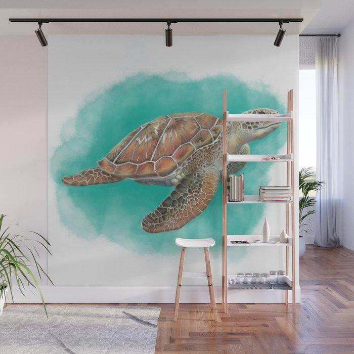 Sea Turtle Wall Mural By Calyxstudio