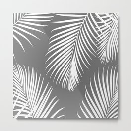 Dark Gray Tropical Pattern Metal Print
