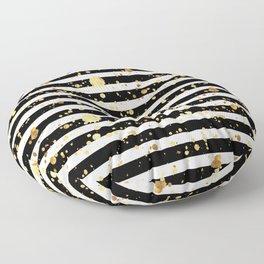 Stripes & Gold Splatter - Horizontal Floor Pillow