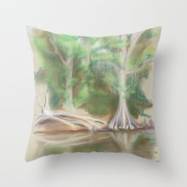 Cypress by the Waccamaw River Throw Pillow