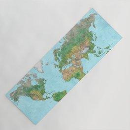 Watercolor physical world map (high detail) Yoga Mat
