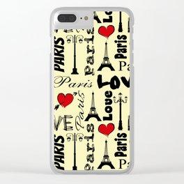 Paris text design illustration Clear iPhone Case