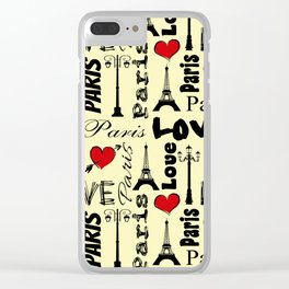 Paris text design illustration Clear iPhone Case