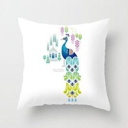 Indian Blue Peacock [Pavo Cristatus] Throw Pillow
