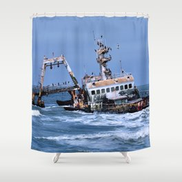 Shipwreck on the Coast of the Skeletons, Namibia Shower Curtain