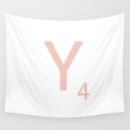 Pink Scrabble Letter Y - Scrabble Tile Art and Accessories Wall Tapestry
