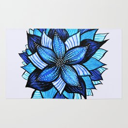 Abstract Blue Flower Ink Drawing Rug