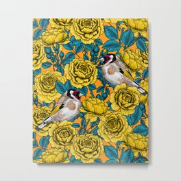 Yellow rose flowers and goldfinch birds Metal Print
