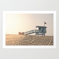 bruno mars Art Prints featuring Los Angeles Lifeguard Tower Bruno Mars Billionaire by SoCal Chic Photography