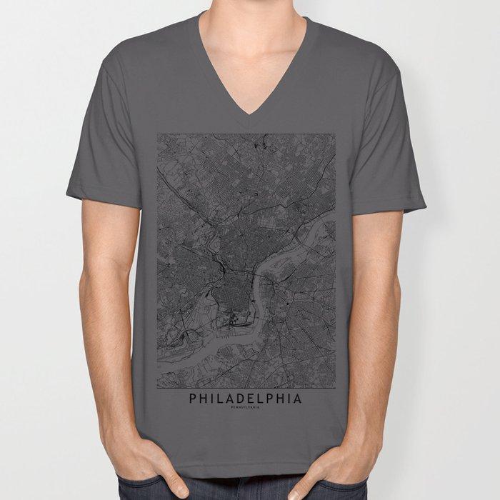 Philadelphia White Map Unisex V-Ausschnitt