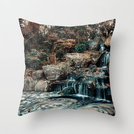 Kyoto Garden, London, Waterfall, Nature Landscape, Photography Throw Pillow