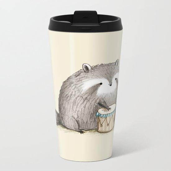 Raccoon on Bongos Metal Travel Mug