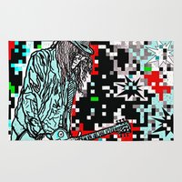 heavy metal Area & Throw Rugs featuring Abstract Heavy Metal Rocks by Saundra Myles