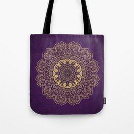 Golden Flower Mandala on Textured Purple Background Tote Bag