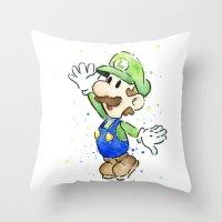 luigi Throw Pillows featuring Luigi Watercolor Art by Olechka