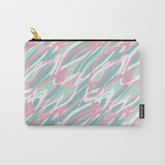 Abstract pink turquoise waves . Carry-All Pouch