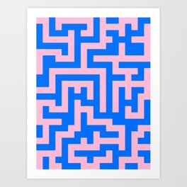Cotton Candy Pink and Brandeis Blue Labyrinth Art Print