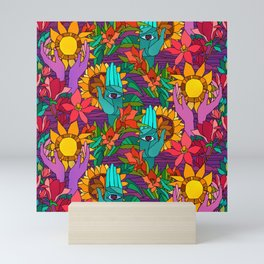 Pattern with sunflowers, magnolia, gladiolus and human hands Mini Art Print