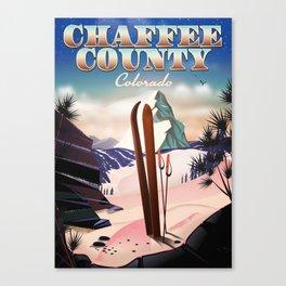 Chaffee County, Colorado, USA Vintage ski poster Canvas Print