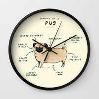 anatomy Wall Clocks featuring Anatomy of a Pug by Sophie Corrigan