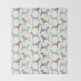 Beagle Silhouettes Pattern - Natural Colors Throw Blanket