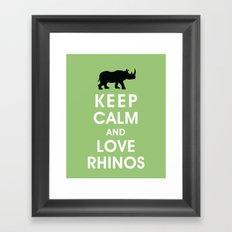 Keep Calm and Love Rhinos Framed Art Print