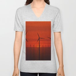 Wind Farms (Digital Art) Unisex V-Neck