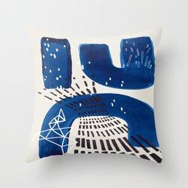 Fun Mid Century Modern Abstract Minimalist Vintage Navy Blue Brush Strokes Minimal Shapes Throw Pillow
