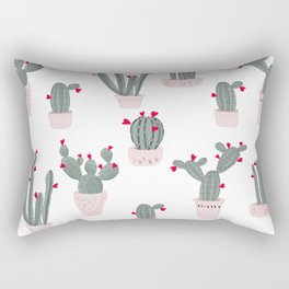 Love in the Desert Cacti Pattern Rectangular Pillow