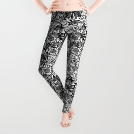 Ella - abstract floral flowers minimal modern black and white girly gender neutral boho painting Leggings