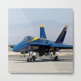 Navy's Spectacular Blue Angels' Airplane At Rest on Tarmac Metal Print