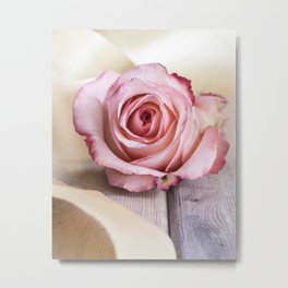 Pink rose and golden ribbon Metal Print