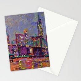 New York City Lights - palette knife painting abstract manhattan skyline Brooklyn bridge Stationery Cards