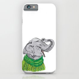 Merry Christmas New Year's card design Elephant head with a raised trunk in a knitted sweater iPhone Case