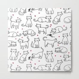 Kitties with Hearts Metal Print