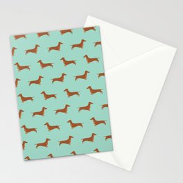 Red Dachshund Chocolate Tan Sausage Dog on Mint Green Background Dog Pattern for Dog Lover Stationery Cards