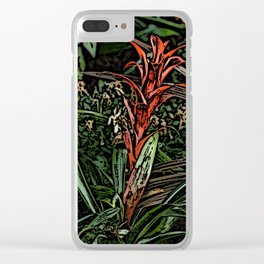Spiky Red Flower Woodcut Clear iPhone Case