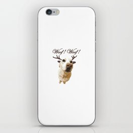 Deer dog woof Christmas childrens brown white decor quotes society6 comic iPhone Skin