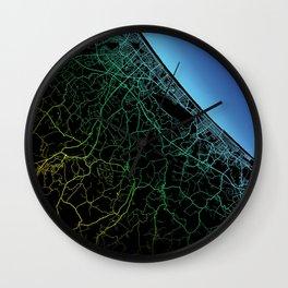 Rimini, Italy, City, Map, Rainbow, Map, Art, Print Wall Clock