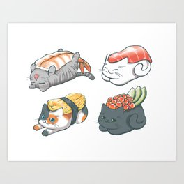 Sushi Cats Kunstdrucke