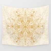 snowflake Wall Tapestries featuring Sepia Snowflake Doodle by micklyn