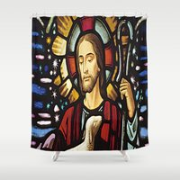 jesus Shower Curtains featuring JESUS. by Aldo Couture