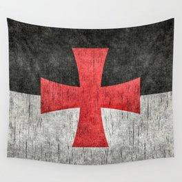 Knights Templar Flag in Super Grunge Wall Tapestry